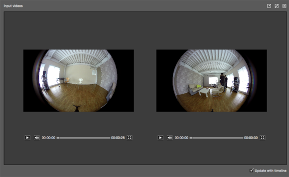 Start Autopano Video Pro and then drop the 2 video clips to the program.