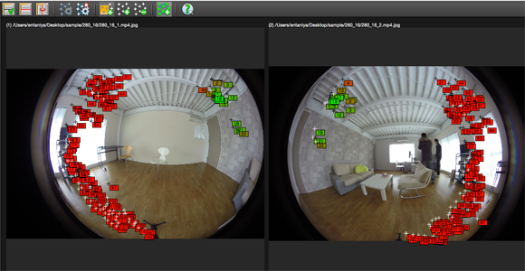 After waiting a little while, Autopano Giga automatically finds and adds the same control points shown in the left image to the now selected right image.