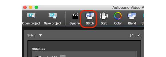When the sync of footage finishes, next step is stitching the video.